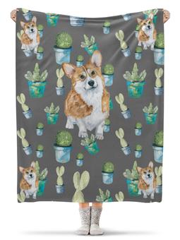 """Плед флисовый 130х170 см """"Моя любимая собака"""" - лето, цветы, кактус, корги, вельшкорги"""