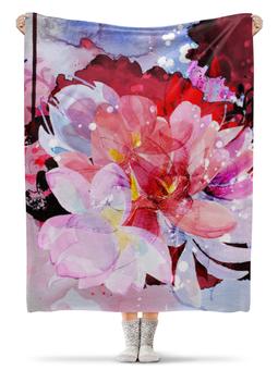 """Плед флисовый 130х170 см """"Акварельные цветы. Цветочный дизайн"""" - розовый, абстракция, акварель, букет"""