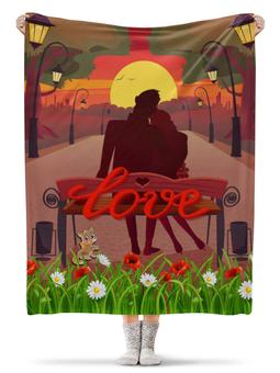 """Плед флисовый 130х170 см """"любовь"""" - пара, свидание, вечер, парк, скамейка"""