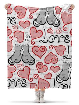 """Плед флисовый 130х170 см """"День Св. Валентина"""" - день св валентина, сердце, любовь, коты"""