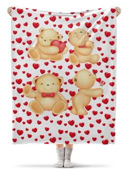 """Плед флисовый 130х170 см """"Мишки"""" - любовь, сердца, мишки"""
