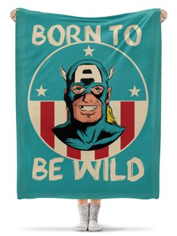 "Плед флисовый 130х170 см ""Капитан Америка"" - капитан америка, captain america"
