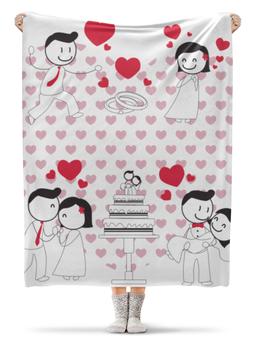 """Плед флисовый 130х170 см """"Свадьба"""" - любовь, свадьба, семья, сердечки, пары"""