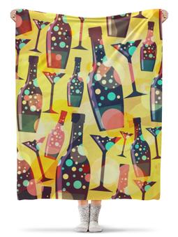 "Плед флисовый 130х170 см ""Бутылки"" - праздник, ярко, бокалы, бутылки"