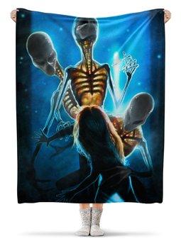 """Плед флисовый 130х170 см """"The Abduction"""" - alien, инопланетяне, нло, пришелец"""