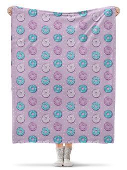 """Плед флисовый 130х170 см """"Поп арт дизайн. Пончики паттерн"""" - молодежный, розовый, стильный, модный, попарт"""
