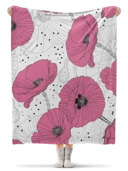 "Плед флисовый 130х170 см ""Маки."" - цветы, лето, маки, нежный цветок, цветок"