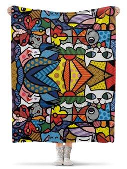 """Плед флисовый 130х170 см """"Яркая абстракция """" - арт, кошки, абстракция, искусство"""