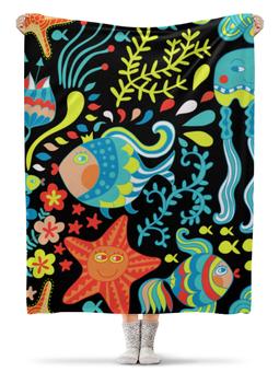 """Плед флисовый 130х170 см """"Обитатели моря"""" - красиво, море, рыбки, водоросли, морская звезда"""
