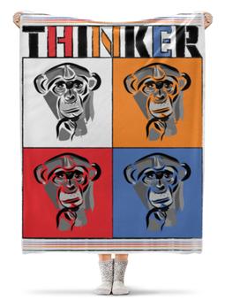 """Плед флисовый 130х170 см """"Мыслитель"""" - поп-арт, обезьяна, мыслитель, шимпанзе"""