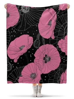"Плед флисовый 130х170 см ""Маки."" - цветы, нежный цветок, цветок, лето"