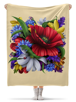 "Плед флисовый 130х170 см "" Цветы"" - цветы"