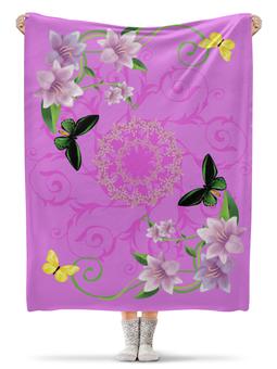"""Плед флисовый 130х170 см """"вдохновение"""" - бабочки, цветы, узор, стиль"""