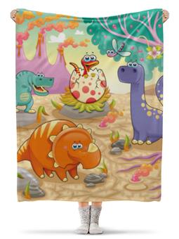 """Плед флисовый 130х170 см """"Забавные динозаврики"""" - животные, природа, динозавры, вулкан"""