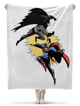 """Плед флисовый 130х170 см """"Бэтмен и Супермен"""" - супермен, batman, superman, бэтмен"""