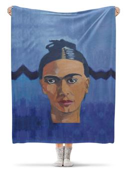 """Плед флисовый 130х170 см """"Фрида"""" - синий, живопись, мексика, фрида кало, фрида"""