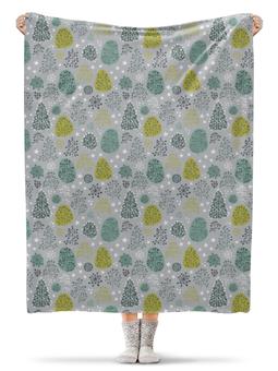 """Плед флисовый 130х170 см """"First Frost"""" - новый год, зима, снег, лес, деревья"""