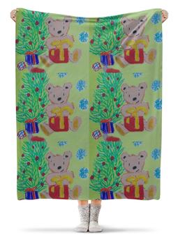 """Плед флисовый 130х170 см """"Новогодний мишка"""" - новый год, подарки, елка"""
