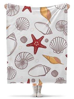 """Плед флисовый 130х170 см """"Морской"""" - стиль, рисунок, ракушка, морская звезда, морской"""
