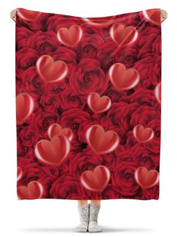 """Плед флисовый 130х170 см """"Сердечки и розы"""" - любовь, день святого валентина, сердечки, розы, день влюблённых"""