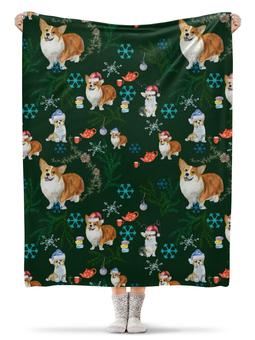 "Плед флисовый 130х170 см ""Новогодняя корги "" - зима, собака, корги, вельшкорги"