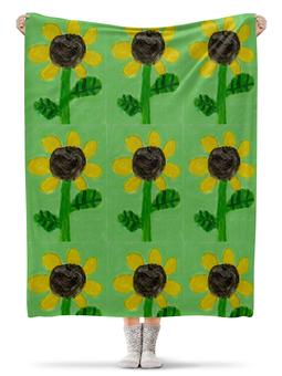 """Плед флисовый 130х170 см """"Подсолнух"""" - цветы, солнце, подсолнух"""