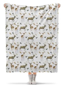 """Плед флисовый 130х170 см """"Лесные жители"""" - животные, зима, зеленый, лось, олененок"""