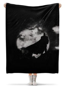 """Плед флисовый 130х170 см """"Ночной Бэтмен"""" - комиксы, ночь, луна, бэтмен"""