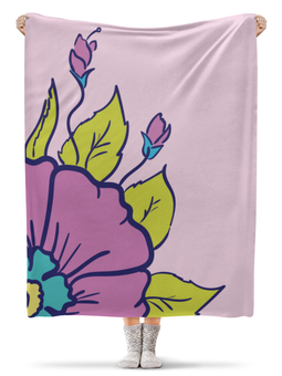 "Плед флисовый 130х170 см ""цветок розовый"" - арт, цветок, розовый, природа, листик"