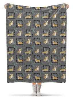 "Плед флисовый 130х170 см ""Корги узоры"" - собака, корги, вельшкорги"