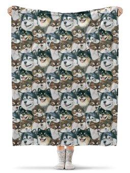 """Плед флисовый 130х170 см """"Счастливый Лаппи """" - собака, лаппи, лаппхунд"""