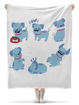 """Плед флисовый 130х170 см """"Смешные собаки"""" - щенок, собака, пёс, 2018, год собаки"""