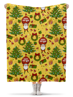 """Плед флисовый 130х170 см """"Новогоднее настроение. """" - праздник, новый год, желтый, дед мороз, елка"""
