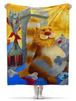 """Плед флисовый 130х170 см """"Кошечки """" - прикол, юмор, животные, коты"""