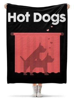 """Плед флисовый 130х170 см """"Горячие собачки"""" - секс, sex, dog, собака, животное"""
