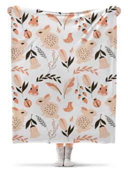 """Плед флисовый 130х170 см """"Лесная поляна"""" - птички, цветочки, белочка, зайчики, божьи коровки"""
