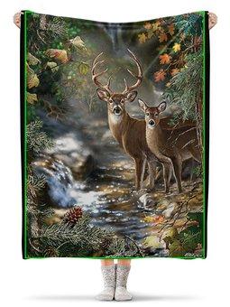 """Плед флисовый 130х170 см """"ОЛЕНИ. ЖИВАЯ ПРИРОДА"""" - животные, лес, ручей, стиль эксклюзив креатив красота яркость, арт фэнтези"""