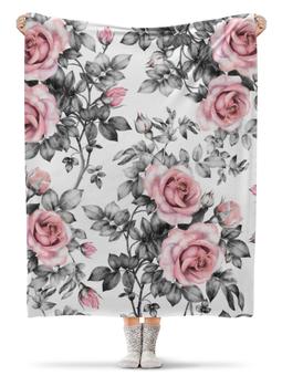 """Плед флисовый 130х170 см """"Цветы"""" - цветы, розы"""