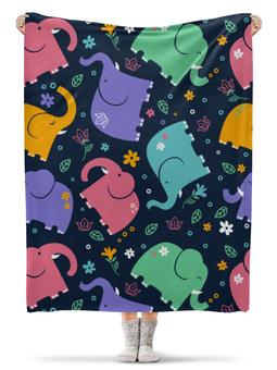 """Плед флисовый 130х170 см """"Слоники"""" - узор, животные, рисунок, детский, слоны"""