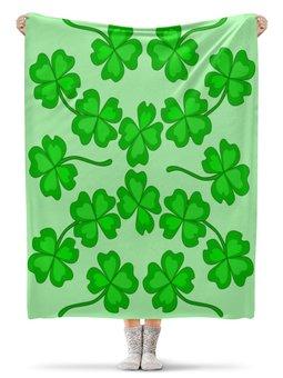 """Плед флисовый 130х170 см """"День святого Патрика - волшебный четырехлистник"""" - зеленый, паттерн, лист клевера, день святого патрика, четырехлистник"""