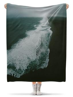 """Плед флисовый 130х170 см """"Умиротворение"""" - море, волны, антиутопия"""