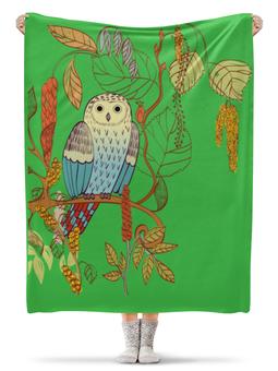"""Плед флисовый 130х170 см """"Сова """" - арт, дизайн, природа, сова"""