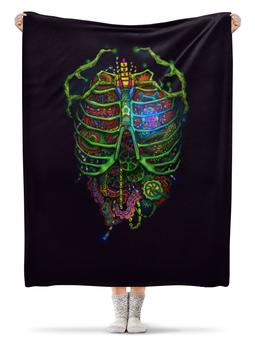 """Плед флисовый 130х170 см """"Органы"""" - прикольный, внутренности, органы"""
