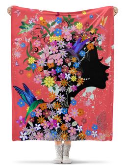 """Плед флисовый 130х170 см """"Девушка"""" - бабочки, девушка, цветы, птицы"""