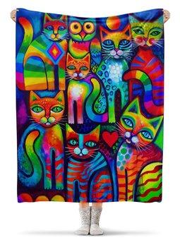 """Плед флисовый 130х170 см """"Кошечки """" - арт, животные, коты, кошатникам"""