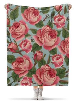 """Плед флисовый 130х170 см """"Розалия"""" - цветы, розы"""