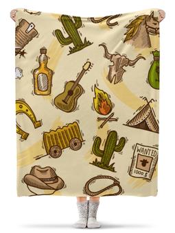 """Плед флисовый 130х170 см """"Дикий запад"""" - ковбой, гитара, бутылки, кактус"""