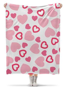 """Плед флисовый 130х170 см """"Сердечный"""" - сердце, любовь, день валентина, символы, романтичный"""