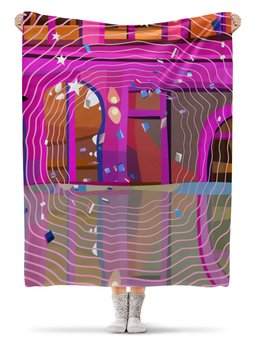 """Плед флисовый 130х170 см """"Радужный """" - абстракция, геометрия, яркий интерьер"""