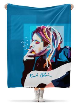 "Плед флисовый 130х170 см ""Курт Кобейн"" - арт, nirvana, kurt cobain, курт кобейн, нирвана"